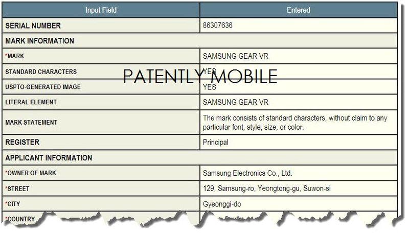 5AF-  Samsung's Gear VR TM filing