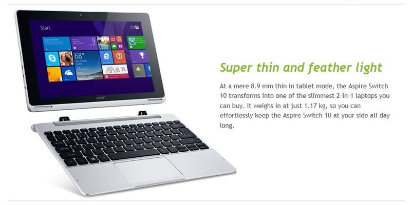 2A2 SWITCH 10, ACER, WINDOWS 2-IN-1 DESIGN