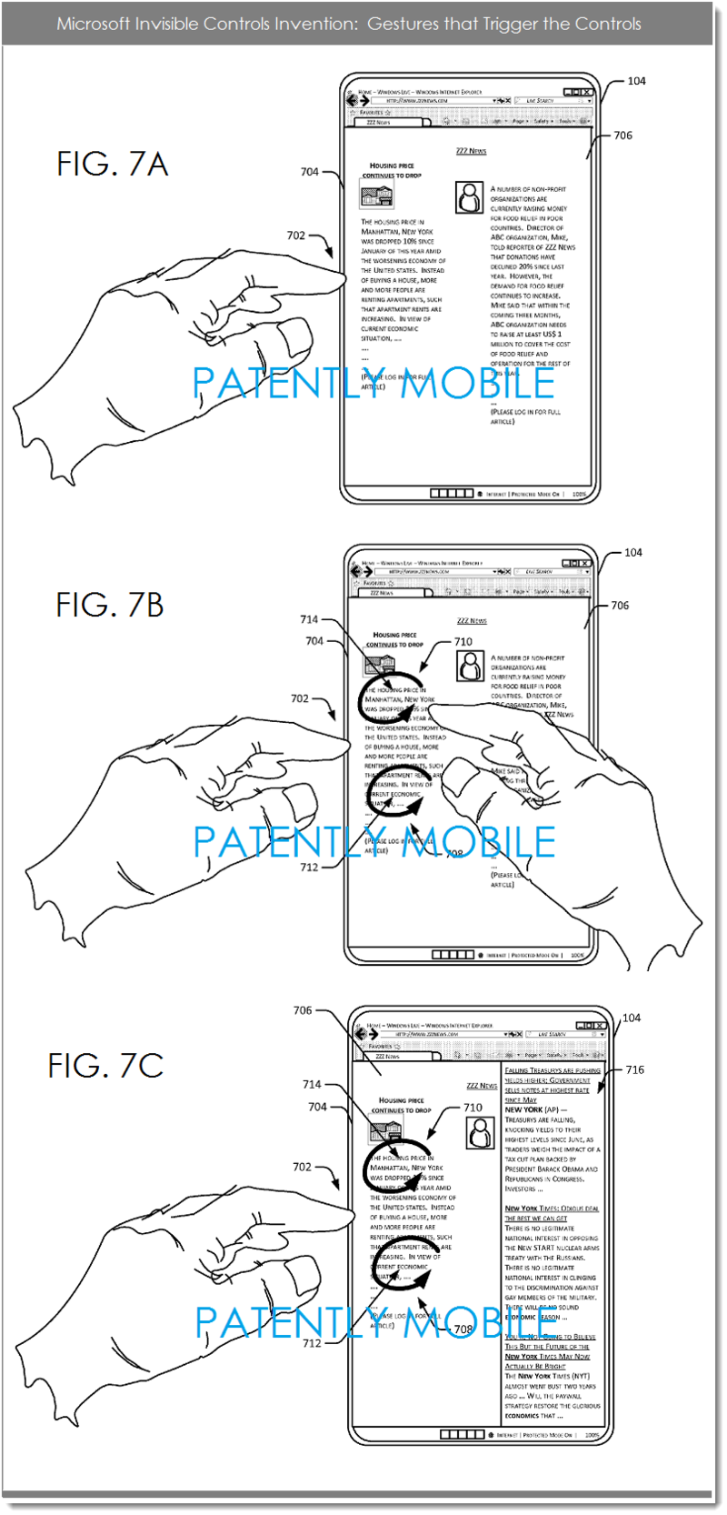 4AF - MSFT PATENT FIGS 7A,B AND C - GESTURES INVOKING INVISIBLE CONTROLS