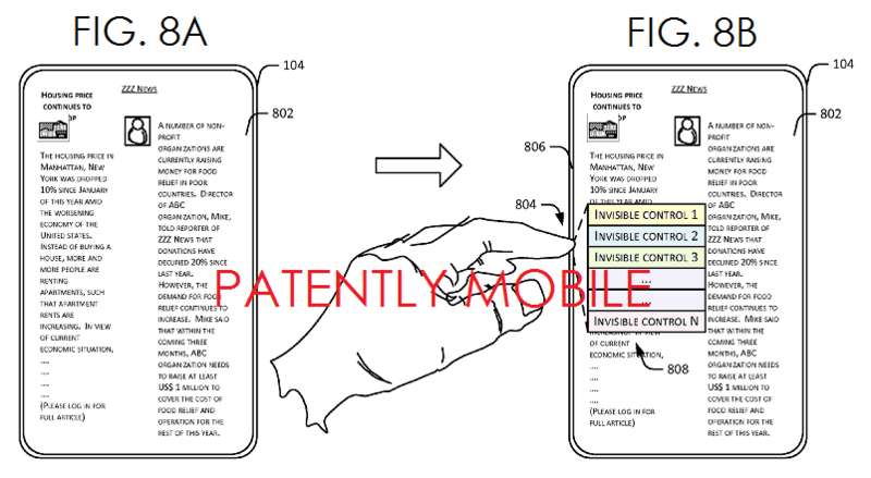 3AF - Microsoft's Invisible Controls Patent Application FIGS 8A, B